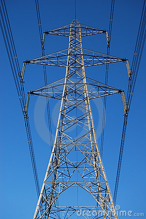 Electricity pylon and power lines