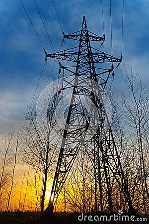 Electricity pylon at sunset