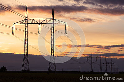 Electricity pylon on sunset