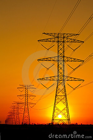 Free Electricity Pylons Against Sunset Stock Image - 19151461