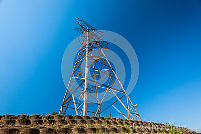 Electricity Steel Tower Bare Blue