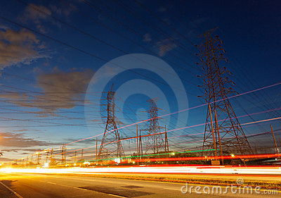 Electricity supply pylons in countryside