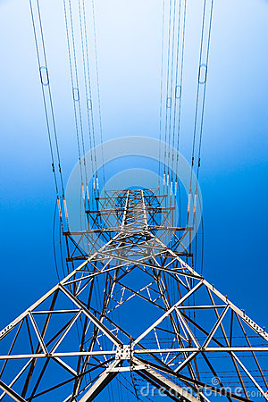 Free Electricity Tower Steel Blue Upward Stock Photos - 26639133