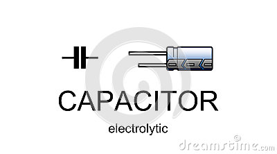 Electrolytic capacitor icon and symbol