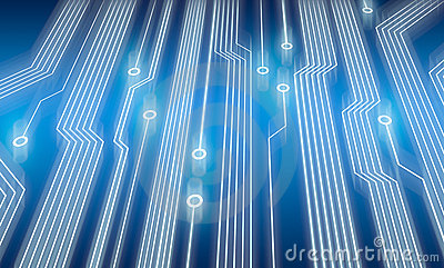 Electronic circuit board in blue