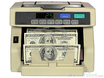 Electronic currency counter  with dollars
