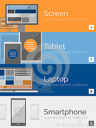 Free Electronic Devices Flat Design Banners Stock Photos - 45092363