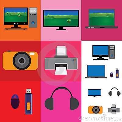 Electronic gadgets collage - television, camera