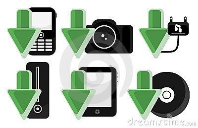 IT Electronic Gadgets Download Arrow Icons Set