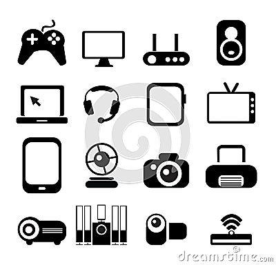 Free Electronic Icon Set Royalty Free Stock Photo - 40855205