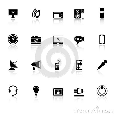 Electronic icons with reflect on white background