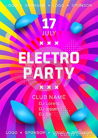 Free Electronic Music Festival Poster Design. Rainbow Background Gradient Fluid Shapes. Futuristic Geometric Background Stock Photos - 144459893