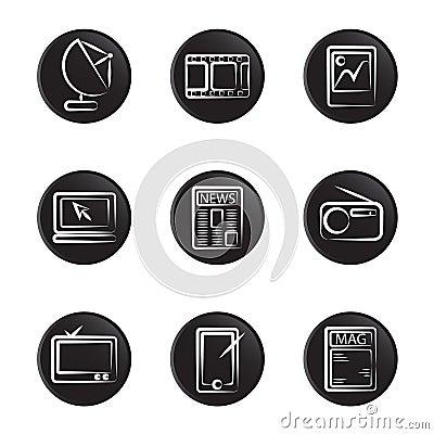 Electronic object icon set
