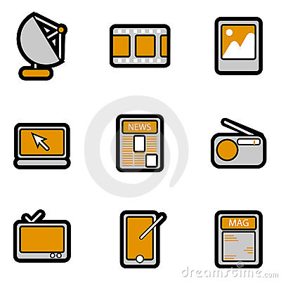 Electronic object icon set vector