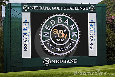 Electronic Scoreboard on the 18th Green Editorial Stock Image