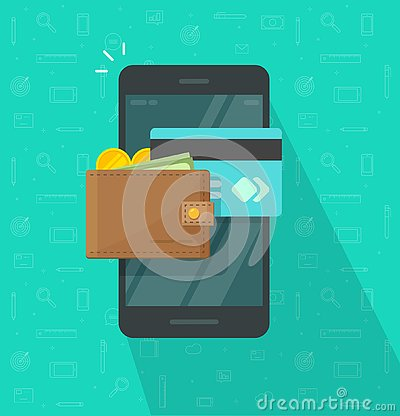 Free Electronic Wallet On Smartphone Vector Icon, Flat Design Mobile Phone Screen With Digital Money Wallet And Credit Card Stock Images - 138660994