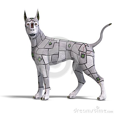 Electronical scifi dog of the future. 3D