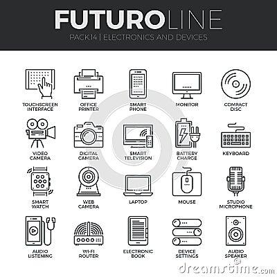 Free Electronics And Devices Futuro Line Icons Set Stock Photo - 62806520