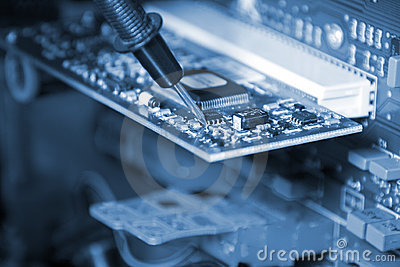 Electronics. Engineer at work