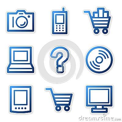Electronics icons blue contour