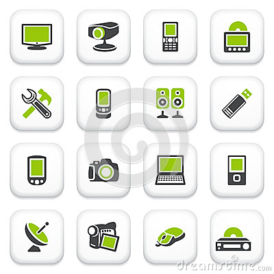 Electronics icons. Green gray series.