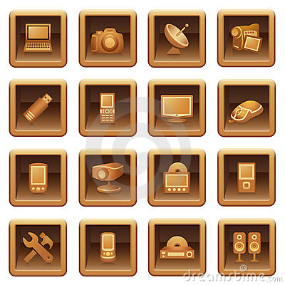 Electronics icons for web.  Brown series.