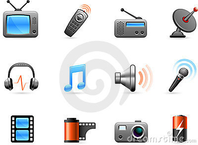 Electronics And Media Icon Collection Royalty Free Stock Images - Image: 12098229