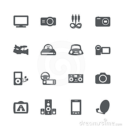 Electronics simple icons set