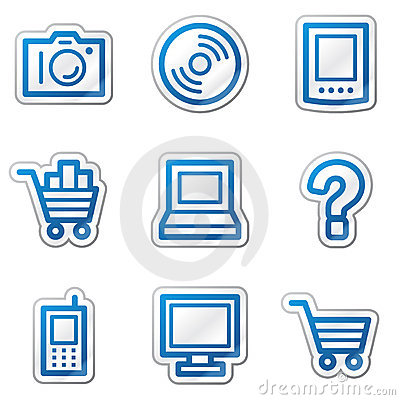 Electronics web icons, blue contour sticker series