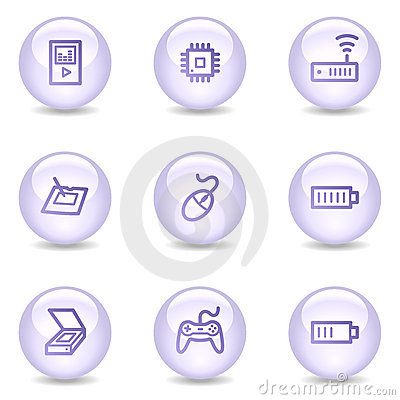 Electronics web icons, glossy pearl series set 2