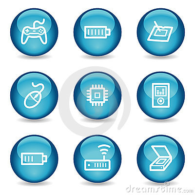 Electronics web icons, glossy sphere series set 2