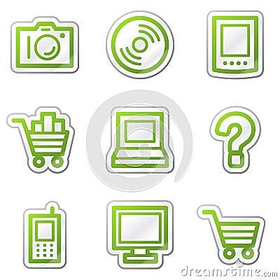 Electronics web icons, green contour sticker