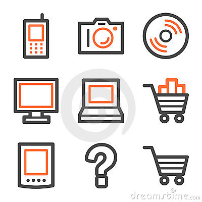 Electronics web icons, orange and gray contour