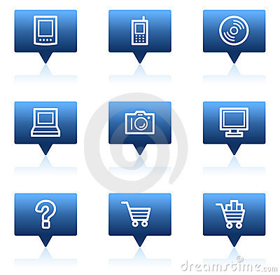 Electronics web icons set 1, blue speech bubbles