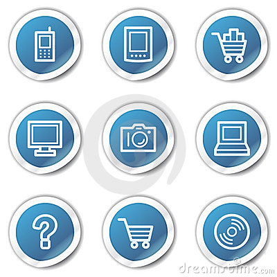 Electronics web icons set 1, blue sticker series