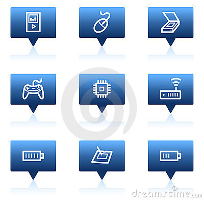 Electronics web icons set 2, blue speech bubbles