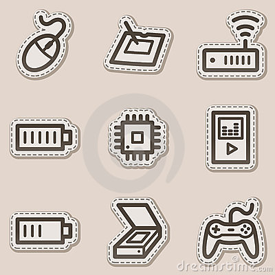 Electronics web icons set 2, brown contour sticker