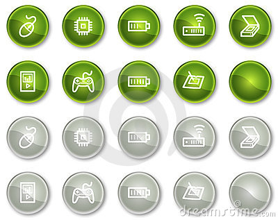 Electronics web icons set 2, circle buttons series