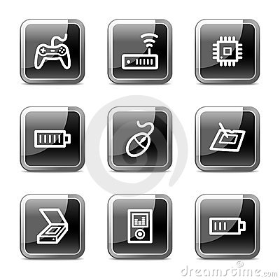 Electronics web icons set 2, glossy buttons series