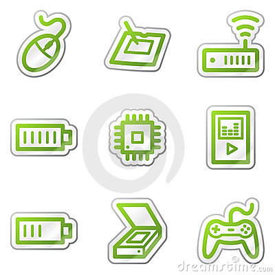 Electronics web icons set 2, green contour sticker