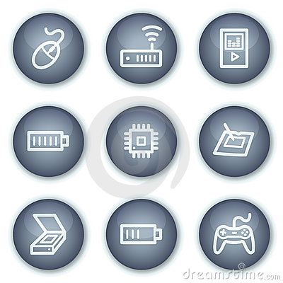 Electronics web icons set 2, mineral circle