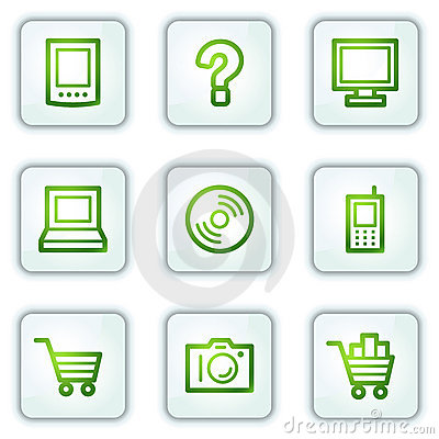Electronics web icons, white square buttons series