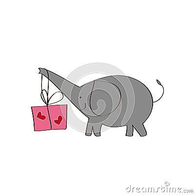 Elefant und Geschenk