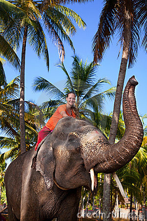 Elefante del montar a caballo de la mujer