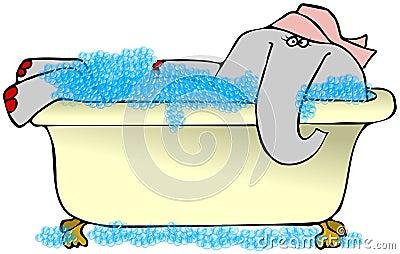 Elefante en un baño de burbujas
