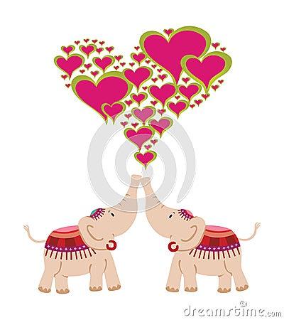 Elefantes que comemoram o amor