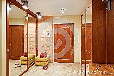 Elegance anteroom interior in warm tones