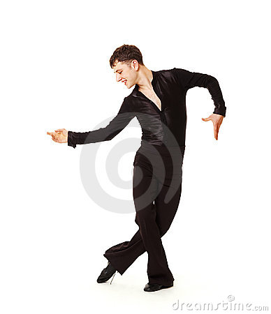 Elegance dancer in black suit