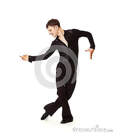 Elegance dancer in black suit