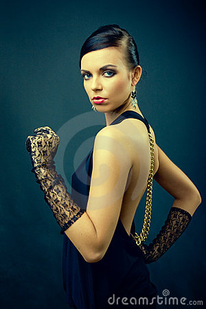 Elegance dark hair woman fashion with gloves